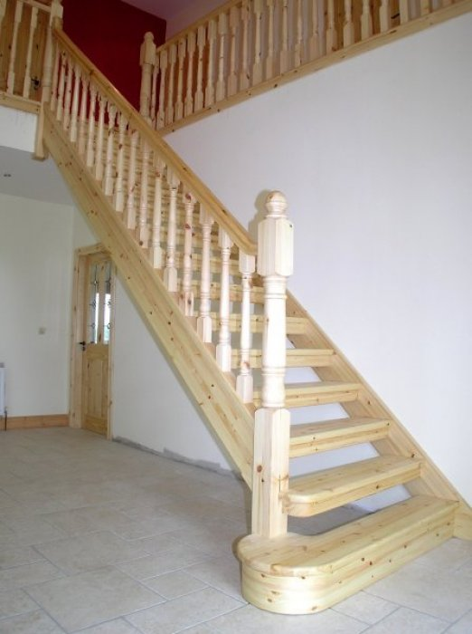 Red Deal Open Plan Stairs With Straight Pelmet