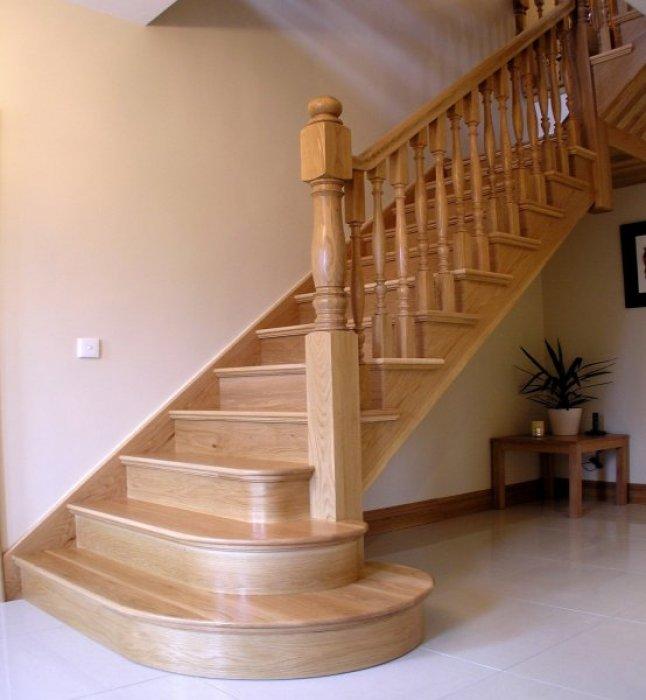 White Oak L Shape Stairs