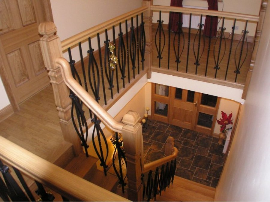 White Oak Cut-String with Wrought Iron