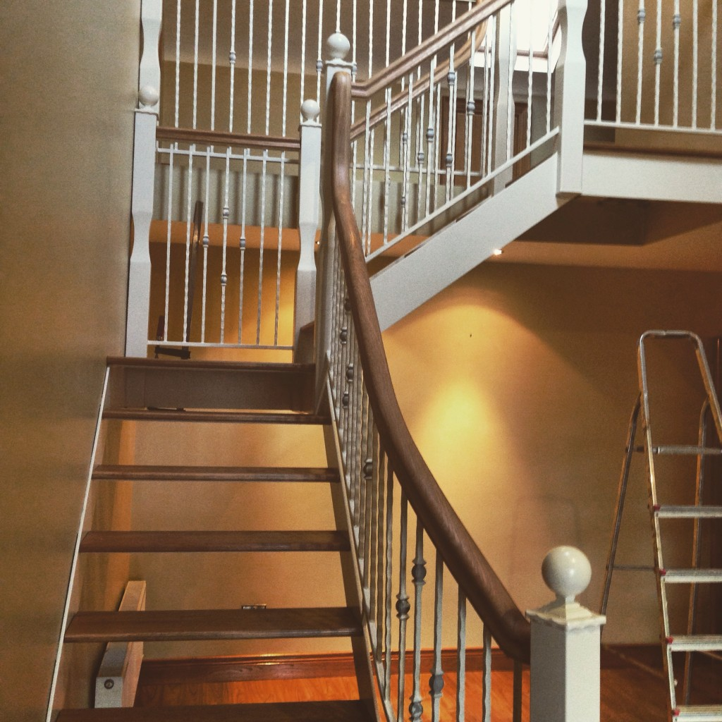 Open Plan Wrought-Iron Stairs with Oak Handrail and Steps